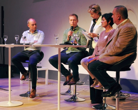 Panel discussion with our partners: Christof Malysse (Lobster Fish NV), Wannes Voorend (Colruyt Group NV), Brigitte Lauwaert (OD Natuur) and Willy Versluys (Brevisco BVBA) (© Geert Van de Wiele, UGent)