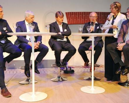 Panel discussion with our partners: Bert Groenendaal (Sioen Industries NV), Jaak Rutten (C-Power NV), Eric Antoons (Parkwind NV), Johan Maes (DEME Group NV) and Prof. Marc Vantorre (UGent) (© Geert Van de Wiele, UGent)