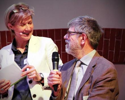 Greet Riebbels (ILVO) and Prof. Marc Vantorre (UGent) (© Hilde Christiaens, UGent)