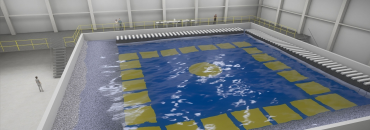 Coastal & Ocean Basin (COB) or wave tank in new Flanders Maritime Laboratory in Ostend (Belgium)